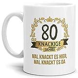 Tassendruck Geburtstags-Tasse Knackige 80' Geburtstags-Geschenk Zum 80. Geburtstag/Geschenkidee/Scherzartikel/Lustig/Witzig/Spaß/Fun/Mug/Cup/Beste Qualität - 25 Jahre Erfahrung