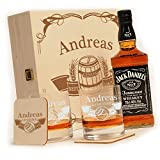polar-effekt Whisky Geschenkset - 6-Teilig - Deutsche Herstellung - Jack Daniels No.7 Flasche - 2 Untersetzer - 2 Whiskygläser - personalisiert Motiv: Fass im Banner