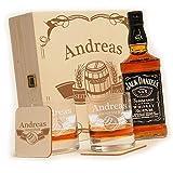 polar-effekt 6-TLG Whisky Geschenk-Set mit Jack Daniels No.7-2 Whiskygläser, 2 Untersetzer und Whiskey Flasche in Geschenk-Box mit Gravur - Individuelles Geschenkidee - Motiv Fass im Banner