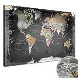 """LANA KK - Weltkarte Leinwandbild mit Korkrückwand zum pinnen der Reiseziele – """"Weltkarte Graphit"""" - deutsch - Kunstdruck-Pinnwand Globus in schwarz, in 100x70cm"""