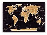 Weltkarte zum Rubbeln - Kronewerk - Deutsch - Kreatives Geschenk für Vielreisende inkl. eine edle Zylinderbox, XXL Poster, World map for Scratching, Landkarte zum Freirubbeln, Top Geschenkidee